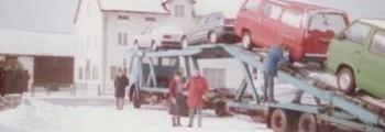 1984:<br>Januar: Mitsubishi-Vertragshändler,  die ersten Mitsubishi wurden per LKW geliefert